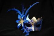 Laser Cut Venetian Masquerade Mask Costume w/ Side Lily Flower- Blue