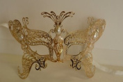 Venetian Gold Majestic Butterfly Design Laser Cut Masquerade Mask Vibrantly Decorated and Intricately Detailed