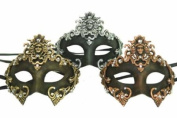 New Classic Vintage Ancient Venetian Crown Inspired Masks Design Laser Cut Masquerade Mask for Mardi Gras Events or Halloween - 3pc Gold, Silver, and Bronze