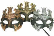 New Vintage Venetian Royal Crown Inspired Masks Design Laser Cut Masquerade Mask for Mardi Gras Events or Halloween - 3pc Gold, Silver, and Bronze