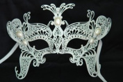 Venetian Grand Majestic Swan Design Laser Cut Masquerade Mask Vibrantly Decorated and Intricately Detailed w/ Diamonds and Pearls