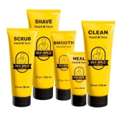 5 Piece Bee Bald Daily Skin Care Regimen Kit including SCRUB, SHAVE, CLEAN, HEAL & SMOOTH