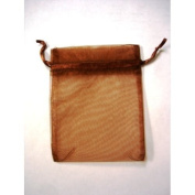 48 Organza Drawstring Pouches Gift Bags 4x5 - Brown