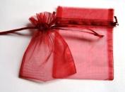 48 Organza Drawstring Pouches Gift Bags 4x5 - Burgundy