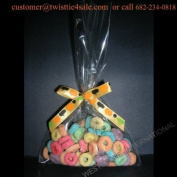 25pcs (13cm x 20cm Cello Bags + Ribbon Bows) for Halloween Party