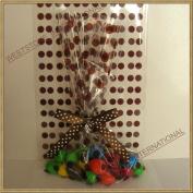 25pcs 13cm x20cm Polka Dot Brown Gift Cello Bag + Pre-tied Ribbon Bow