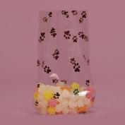 Black Paw Print Cello Bags - 10cm X 6.4cm X 24cm X 5.1cm - 10 bags
