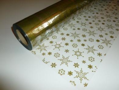 5m x 80cm Christmas Snowflake (Gold) Cellophane Gift Wrap. Florist Quality Bo...