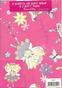 2 Sheets of Girls Happy Birthday Gift Wrap & 2 Gift Tags - With Ballet Dancing Fairies and Flowers