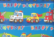 5 x Sheets of Boys Blue Birthday Police Car, Truck, Rescue Vehicle Gift Wrap - 50 x 70cm