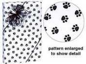 Trendy Paw Print Black & White Gift Wrap Wrapping Paper 16 Foot Roll - Pet Cat Dog School Mascot
