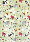 Farmyard Animals Happy Birthday Gift Wrap Paper