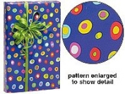 Trendy Brand New Blue Yellow Red Crazy Polka Dot Gift Wrap Wrapping Paper 16 Foot Roll