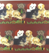 Labradors and German Shepherd Puppies Bears and Trains Christmas Gift Wrap and Tags