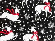 REINDEER & SNOWFLAKES Christmas Holiday Gift Wrap Paper - 16 Foot Roll