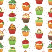 Entertaining with Caspari Continuous Gift Wrapping Paper, Christmas Cupcakes, 1-Roll