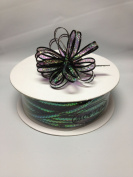 0.3cm Black 50 Yards Organza Nylon Iridescent Centre with String Pull up Ribbon Bow