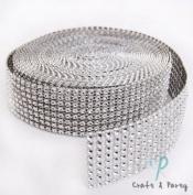 Silver Diamond Mesh Wrap Roll Rhinestone Crystal Ribbon 3.8cm x 10 yards