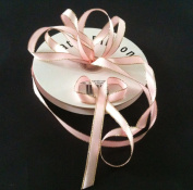 1cm Light Pink Satin Ribbon with Gold Edge 50 Yard Spool 100% Polyester Single Faced