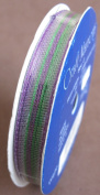 Wrights Craft Trim WIRED WHIMSICLE RIBBON 1cm Wide x 4 YARDS Long PURPLE & GREEN STRIPE Colour