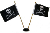 Pirate Bones Logo Small 10cm X 15cm Mini Double Stick Flag Banner with BLACK STAND on a 25cm Plastic Pole .. New