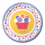 Sweet Cupcake Dessert Plates - Birthday Party Supplies