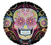 Dia De Los Muertos Sugar Skull Colourful Flowers Swirls 46cm Mylar Balloon