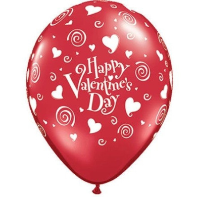 (12) Valentine's Swirls and Hearts 28cm Latex Balloons