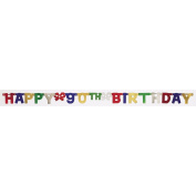 Creative Converting Party Decoration Jointed Banner, Happy 90th Birthday, 1.8m