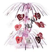 Silver & Red Hearts Mini Cascade Centrepiece