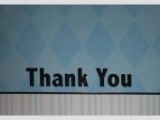 Blue/White/Silver Diamond/Stripes Thank You Note Cards w/ Envelopes