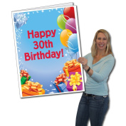 2'x3' Giant Presents and Balloons 30th Birthday Card, W/Envelope