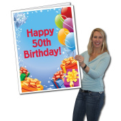 2'x3' Giant Presents and Balloons 50th Birthday Card, W/Envelope