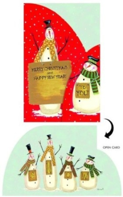 Boxed Christmas Cards - Trifold - RED DOT SNOWMEN - 14 Pack