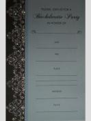 Glittered Blue/Green/Black Damask Bachelorette Party Invitations w/ Envelopes