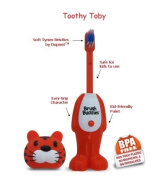 BrushBuddies Poppin 00302-72 Toothy Toby (Tiger) Fun Animal Character Manual ToothBrush for Kids or Children
