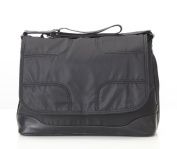 OiOi Taped Messenger Baby Changing Bag Black with Copper Self-Stripe Lining and Accessories