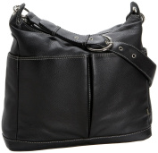 OiOi Two Pocket Leather Hobo Baby Changing Bag Black with Zebra Lining and Accessories