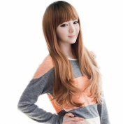Taobaopit Flax Brown Ladies Long-length Synthetic Wavy Wigs Hairpieces Hair Extensions