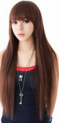 Taobaopit Real Pictures Natural Synthetic Dark Brown Long Wigs Straight Wigs