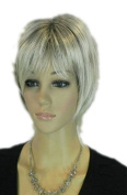 Yazilind Short Straight Silver Grey Mix Layered Heat Resistant Fibre Synthetic Hair Full Cosplay Anime Costume Wig