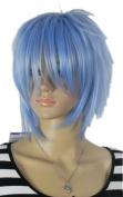 Yazilind Short Pale Blue Straight Spiky Unisex Full Hair Cosplay Anime Costume Wig Unisex