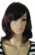 Yazilind Medium Shoulder Length Wavy Waves Straight Ramp Bangs Black Synthetic Hair Full Wig