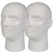 2pc A1Pacific 28cm Male STYROFOAM FOAM MANNEQUIN head wig display hat glasses