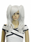 Yazilind Long Straight Wavy Silver White Two Clip-On Ponytail Hair Full Cosplay Anime Costume Wig