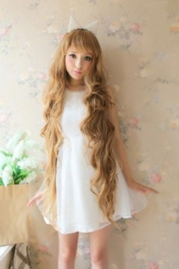 2013 New Godiva Extra Long Lolita Full Natural Wavy Heat Resistant Hair Wig Blonde Wigs K048