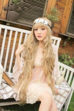 2013 New Godiva Super Long Lolita Full Natural Wavy Kanekalon Heat Resistant Hair Wig Blonde Wigs K056