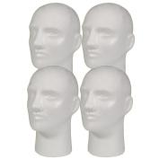 4pc A1Pacific 28cm Male STYROFOAM FOAM MANNEQUIN head wig display hat glasses