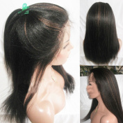 Kinky Straight Indian Remy Human Hair Lace Front Wig with Highlight