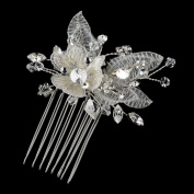 Yasemin. Crystal, Bugle Bead & Rhinestone Diamond White Embroidered Fabric Flower Hair Comb Wedding Bridal Special Occasion